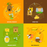 Honey And Bees Icons Set Immagine Stock