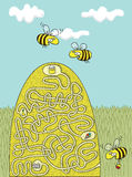 Honey Bees Maze Game Stock Photos
