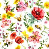 Honey bees, meadow flowers, summer grasses and plants. Repeating summer pattern. Watercolor vector illustration