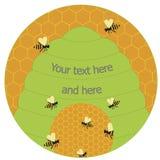 Honey Bees och bikupalogo royaltyfri bild