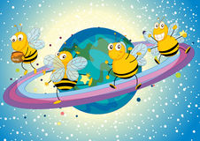 Honey bees on saturn. Illustration of a honey bees on saturn rings Stock Photos