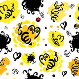 Honey and bees seamless pattern. vector illustration