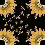 Honey bees and sunflowers background wallpaper vector illustration