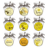 Honey and bees vector badges and labels for any. Use. Hand drawn design for honey product Stock Photo