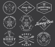 Honey and Bees White. Honey and bees badges and labels for any use vector illustration