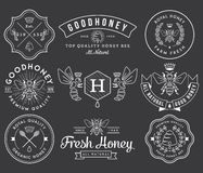 Honey and Bees 2 White. Honey and bees badges and labels for any use royalty free illustration