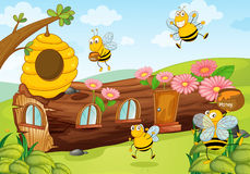 Honey bees and wooden house. Illustration of honey bees and wooden house Royalty Free Stock Photo