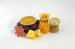Honey, beeswax, bee pollen and candle Royalty Free Stock Image