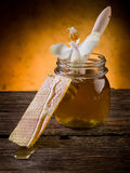 Honey with beeswax and flower Stock Images