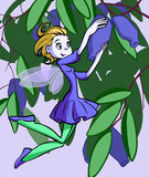 Honey berry fairy. Illustration of a pretty fairy collecting honey berry in the bushes vector illustration
