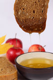 Honey with black bread and red apples Royalty Free Stock Images