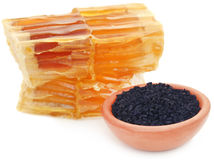 Honey with black cumin. In a pottery Royalty Free Stock Photos