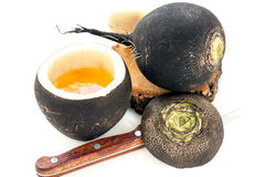 Honey and black radish close-up. royalty free stock photography