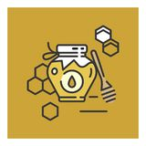 Honey bottle category icon - Traditional Russian sweets and Candy. Honey bottle category icon,  line flat illustration for shop and symbol of manufacturing of Stock Photography
