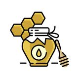 Honey bottle category icon - Traditional Russian sweets and Candy. Honey bottle category icon,  line flat illustration for shop and symbol of manufacturing of Royalty Free Stock Photo