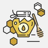 Honey bottle category icon - Traditional Russian sweets and Candy. Honey bottle category icon,  line flat illustration for shop and symbol of manufacturing of Royalty Free Stock Images