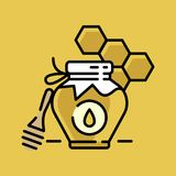 Honey bottle category icon - Traditional Russian sweets and Candy. Honey bottle category icon, vector line flat illustration for shop and symbol of Stock Photos