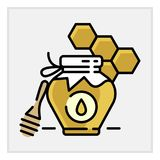 Honey bottle category icon - Traditional Russian sweets and Candy. Honey bottle category icon, vector line flat illustration for shop and symbol of Royalty Free Stock Image