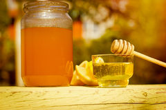 Honey in bowl and jar Royalty Free Stock Photography