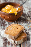 Honey in a bowl and pieces of rye bread Royalty Free Stock Image