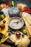 Honey in bowl with spoon , various cheese and berries Royalty Free Stock Image
