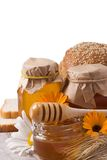 Honey and bread Royalty Free Stock Photo