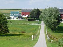 Honey Brook Countryside Amish Farm. Beautiful Pennsylvania country farmland Royalty Free Stock Image