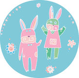 Honey-Bunny. Easter rabbits illustration. Design elements Stock Images