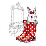 Honey Bunny in a boot. Vector illustration for a card or poster, print on clothes. Royalty Free Stock Image