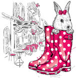 Honey Bunny in a boot. Vector illustration for a card or poster, print on clothes. Fashion & Style. Cute Royalty Free Stock Photo