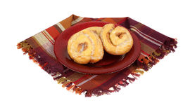 Honey Buns on Plate Napkin Stock Photography