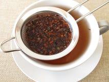 Honey bush tea in tea strainer Stock Photography