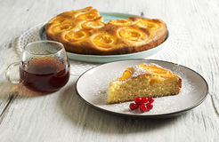 Honey cake with apricots, apricot pie Stock Photo