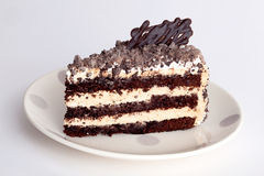 Honey cake with chocolate frosting Stock Images