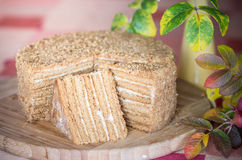 Honey cake. Closeup of honey cake on chopping board cut into slices royalty free stock image