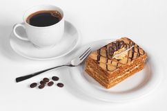 Honey cake and coffee Royalty Free Stock Photo