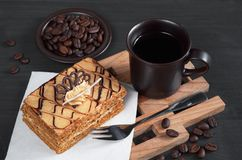 Honey cake and coffee Stock Image