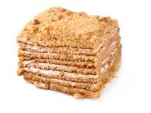 Honey cake isolated. On white Stock Photo
