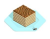 Honey cake in isometric style. Honey cake on the plate in isometric style Stock Photos
