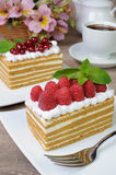 Honey cake. Piece of honey cake with whipped cream and raspberries Stock Photography
