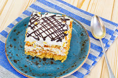 Honey Cake with Sour Sream Royalty Free Stock Photography
