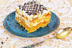 Honey Cake with Sour Sream Stock Images