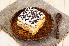 Honey Cake with Sour Sream Stock Photos