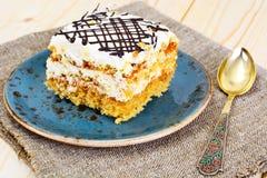 Honey Cake with Sour Sream Stock Photo
