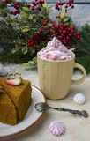 Honey cake with strawberries. Desser. T with marshmallows in cups on a light background stock photo