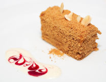 Honey cake with stylish mousse Stock Photography