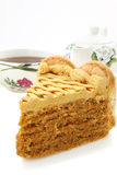 Honey cake and tea Stock Photo