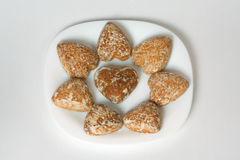Honey-cakes in the form of heart Royalty Free Stock Photo