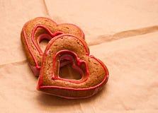 Honey-cakes in shape of heart Royalty Free Stock Photos