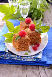 Honey cakes in the shape of squares decorated with Stock Photos